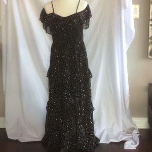 Black cold shoulder maxi dress with grey stars
